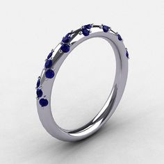 French Bridal 14k White Gold Blue Shire Wedding Band R185b 14kwgbs