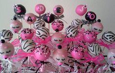 Baby Shower Cake Pops - Zebra Striped & Pink - It's a Girl Cake Pops on Etsy, $36.00