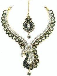 Enchanting Necklace Set Embellished With CZ & Dard Green Stones
