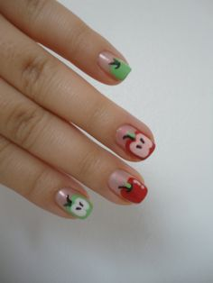 Apple nails, inspired by Bubzbeauty!