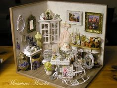 Miniature Dollhouse Parisian Antique Shop Shabby Chic Style Room Box, Fully Equipped