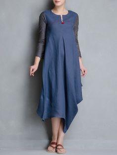 Blue Side Cowl Matty Linen Dress