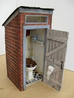 Outhouse for your Dollhouse. This is by far the cutest thing I've seen in a long time. Tutorial included. Click link so you can save it yourself please. I'm redoing all my boards and it may not be here when you come back to retrieve it off of my board. That's why I have no followers or following anyone. When you have over 300 boards. And been on here since Pinterest went up, Lots change. Blonde in pic.