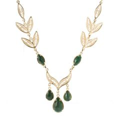 "Antalia™ Turkish Jewelry 18K Gold Embraced™ 18"" African Jade Leaf Necklace evine.com filigree green jade"