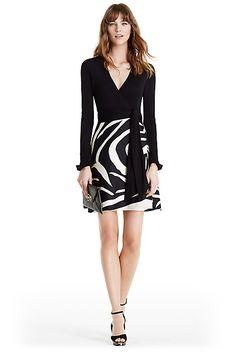 DVF Amelianna Silk Combo Wrap Dress in in Black/ Zebra Simple Black