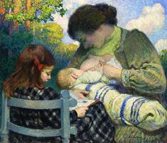Henri Lebasque Motherhood Madame Lebasque and her Children 1905