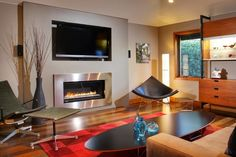 Wide screen tv tv above fireplace and fireplaces on pinterest - Chimeneas lugo ...