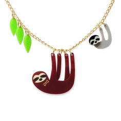Sloth Family Necklace by Little Moose, the perfect gift for Explore more unique gifts in our curated marketplace. Weird Jewelry, Cute Jewelry, Unique Jewelry, Kids Jewelry, Family Necklace, Kids Necklace, Necklace Ideas, Gold Foil Print, Cute Bags