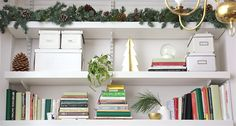 Pinecone garland on bookcase