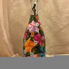 Hand Painted Champagne Bottle Lighted  Island Jungle by EverMyHart