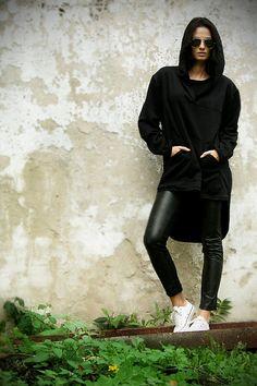 Black tunic.Blac hoodies tunic. Black dresses.Black by MIAatelier