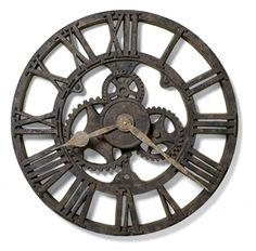 """Allentown by Howard Miller++ The character of a rusted, antique timepiece is evident in this 21"""" molded polyresin wall clock."""