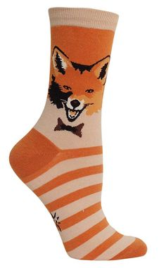 These socks are as fantastic as Mr. Fox himself. Depicting the main character from a self-titled movie, these colorful orange socks are likely the closest you will get to George Clooney (sadly). Funky Socks, Crazy Socks, Cute Socks, Silly Socks, Fox Socks, Men's Socks, Orange Socks, Sock Animals, Novelty Socks