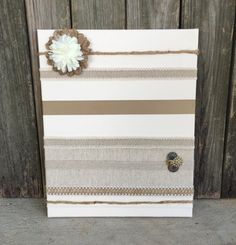handmade / Cottage Chic / wall organizer / message board / clothes pin boards / dorm rooms / teacher gift / Shabby Chic / ivory and burlap