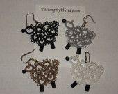 Tatted sheep earrings, original design, tatting jewelry, lace earrings, farm animals, lightweight