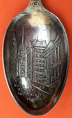 RARE WALL STREET NEW YORK STERLING SILVER SOUVENIR SPOON.