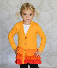 Look at this Orange Gabby Ruffle Cardigan - Infant, Toddler & Girls on #zulily today!