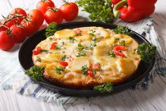 This colorful low fat frittata recipe is full in flavor from red pepper, onion and potato. Get the recipe here.