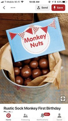 Rustic Sock Monkey First birthday party // Hostess with the Mostess® – Cute Baby Humor Monkey First Birthday, Monkey Birthday Parties, Birthday Ideas, 2nd Birthday, Monkey Party Foods, Monkey Food, Monkey Cakes, Sock Monkey Baby, Baby Boy Shower