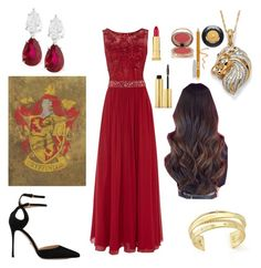 """YULE BALL: Gryffindor"" by jinx-the-nerd ❤ liked on Polyvore featuring Dynasty, Sergio Rossi, Palm Beach Jewelry, Elizabeth and James, Fantasia, Kevyn Aucoin, AERIN, Charlotte Tilbury, FACE Stockholm and Lancôme"
