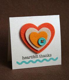 Heartfelt Thanks Homemade Card Idea / Easy Craft Ideas / Felt / Stamps / Buttons / Button