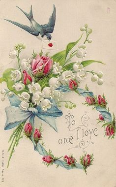 Vintage lily-of-the-valley and rose bouquet postcard
