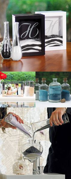 Sand ceremony sets are used by the bride and groom during their wedding ceremony to blend sand into a decorative vase or shadow box while exchanging the wedding vows. The blending of the sand symbolizes the union of two souls, two lives, one heart. Elegant glass vases with pouring cylinders and wood sand ceremony shadow boxes can be personalized with the bride and groom's names, married initial or design and wedding date to create a everlasting wedding keepsake.