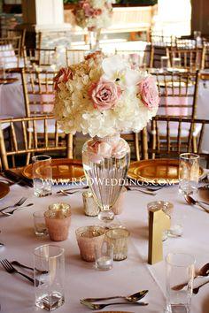 Blush, white and gold wedding reception