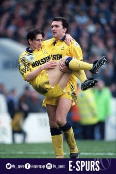 Justin Edinburgh carried off by Neil Ruddock after being injured in our 4-2 FA Cup win over Man. City (1993)