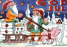 Julekort Nisser og gris