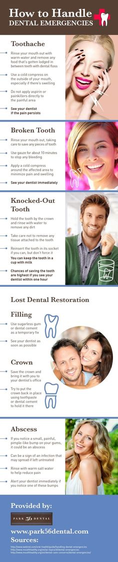 Always rinse your mouth out after you break a tooth! You can also use gauze to stop bleeding and hold a cold compress to the painful or swollen area. Pick up more tips on dental emergencies by reading this infographic.