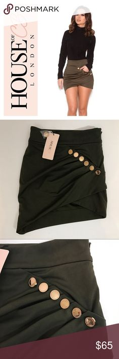 "NWT HOUSE OF CB LONDON - Laure Draped Mini Skirt Brand new with tags House of CB London 'Laure' mini skirt in the color 'khaki'. Size XS. Measurements: 12 1/4"" waist, 17 1/4"" length at longest side. Still full price on website! House of CB London Skirts Mini"