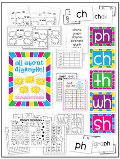 Consonant Digraph Packet (SH, CH, PH, TH, & WH) - 91 Pages full of games, data worksheets, word hunts, digraph posters, flash cards, and practice worksheets!