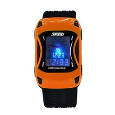 Colors Kids Watches Silicone Jelly Waterproof Swim Sport Wristwatches For Children Car Style Digital Led Cartoon Watch For Boy
