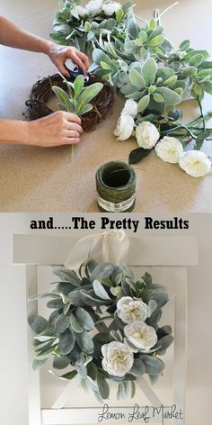 Lambs Ear and White Rose Wreath; Romantic Wreath Add a special touch to your room with this farmhouse style lambs ear and garden rose wreath. Mason Jar Sconce, White Wall Decor, Lambs Ear, Ideias Diy, Deco Floral, Diy Wreath, White Wreath, Wreath Ideas, Wreath Crafts