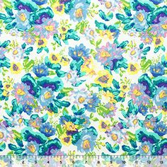 Turquoise Teal Yellow Floral Cotton Jersey Blend Knit Fabric