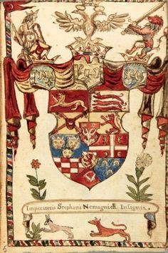 «Insignia procerum Bosnae, Croatiae, Illyriae, &c, quorum alter liber unicus asservatur penes Ragusii rempublicam» (Armorial on Dalmatia, Croatia, Bosnia and the Balkans), by Rubcich, Stanislaus, Italy, 16.-17.sec. (1501-1699) [Biblioteca Estense Ms. gamma.D.6.16 = cam.631] -- «Imperatoris Stephani Nemagnich Insignia» (f°1).