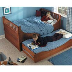 Trundle Bed Downloadable Plan - We've incorporated simple bed hardware and ultra-large slides to make a sturdy and beautiful bed. Ours is made of mahogany, but you could use any hardwood or softwood you prefer, and it will be equally attractive.