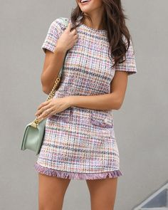 Short Sleeve Fringes Tweed Shift Dress Girly Outfits, Pretty Outfits, Stylish Outfits, Beautiful Outfits, Cool Outfits, Fashion Outfits, Tweed Outfit, Holiday Outfits Women, Holiday Clothes