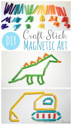 Make magnetic craft sticks and have a craft stick art exhibit on your fridge. Once the project is finished, the sticks pack into a box, and it can become a fun activity on the go for kids .