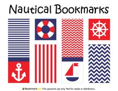 Free printable nautical bookmarks. Download the PDF template at http://bookmarkbee.com/bookmark/nautical/