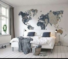 Neutral shades world map wallpaper mural bedroom pinterest while some say that a picture paints a thousand words id say your bedroom speaks a thousand words about your personality the way you design and put gumiabroncs Image collections