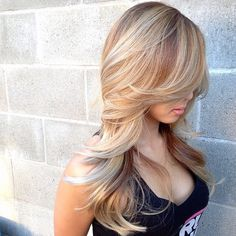 Gorgeous long blond hair with highlights