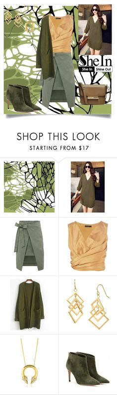 """""""Army Green Coat- SheIn"""" by bhattasharmaluna ❤ liked on Polyvore featuring The Row, Vita Fede, Gianvito Rossi, GREEN, army, coat and shein"""