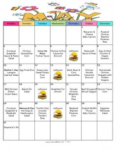 FREE Printable Menu and Grocery List - A Month Of Meal On A Budget | May 2015 Meal Plan | 31 Days of Dinners For $141 with 5 NEW Recipes!