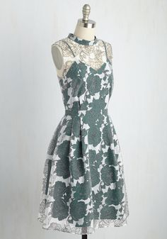 Unfalteringly Feminine Floral Dress in Emerald. Nurture your ladylike side by styling this gossamer dress for a fancy occasion! #green #wedding #bridesmaid #modcloth