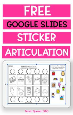 Free sample of a digital fun and engaging resource to use to practice articulation! FREE Google Slides sticker articulation product initial, medial, and final /k/ sounds. Your Speech Therapy students will love this fun sticker articulation game! Perfect for in person Speech Therapy or Speech Therapy Teletherapy. No prep and tons of fun!