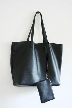 23089582e782f PRE-ORDER  Black Leather Tote Bag