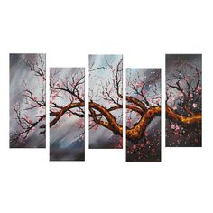 Modern Rose Tree Canvas Wall Art Oil Painting is 100% hand-painted on canvas by a master artist and gallery-wrapped for museum quality finish.