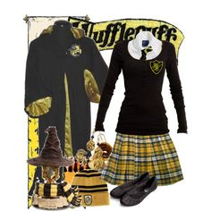 Hufflepuff Uniform At Hogwarts by armychef09 on Polyvore featuring Nümph, American Eagle Outfitters, Monsoon, Elope and Rubie's Costume Co.